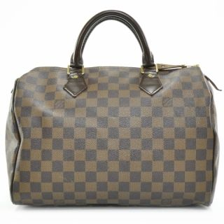 Louis Vuitton Damier Ebene Speedy 30 Bag Purse Tote LV