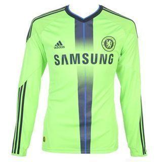 Chelsea Away Third Green Long Sleeve Soccer Football Shirt Jersey 2010