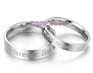 Forever Love Heart Engraved Titanium Couple Lovers Rings Set
