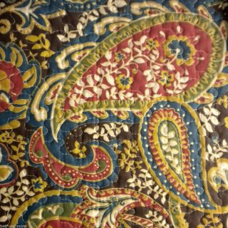 Louisburg Square Paisley King Quilt New Red Brown Gold Blue Green