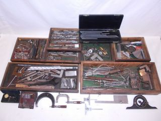 Huge MACHINIST TOOL Box Lot STARRETT LUFKIN Indicator Micrometer No
