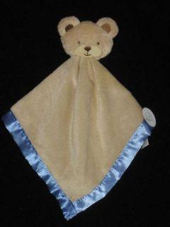 Tan Brown Blue Teddy Bear Security Blanket Baby Lovey Lovie
