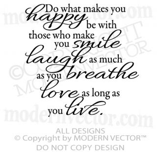 Happy Smile Laugh Live Love Breathe Quote Vinyl Wall Decal