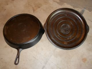 Cast Iron 14 Griswold Skillet Frying Pan with Lid 718 474A Fire Ring