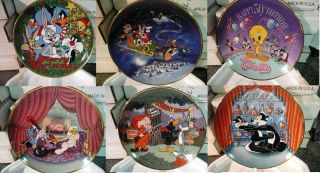 Looney Tunes Collector Plates Bugs Bunny Tweeety Bird Christmas