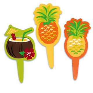 Tropical Drinks Luau Cupcake Picks Cake Toppers 24