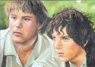Original Sketch Card ACEO Art LOTR Sam Frodo Lord of The Rings