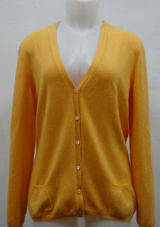 Loro Piana Deisigner Orange Cashmere Cardigan Size 48