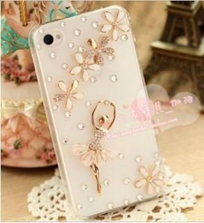 handmade sweet diamond dancing girl luckey leaf case cover for iPhone4
