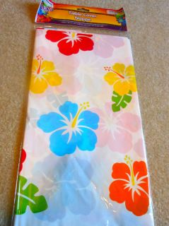Luau Beach Party supplies PLASTIC TABLECLOTH Hawaiian Tropical Flowers