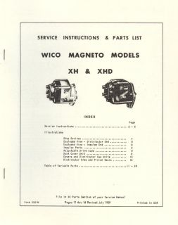 Service Instructions Wico Magneto Models XH XHD Parts List