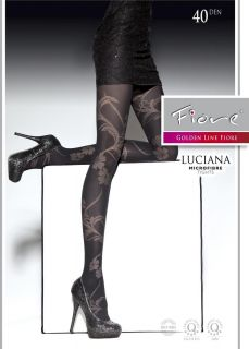 Luciana Semi Opaque Microfiber Tights Pantyhose Floral Pattern Size S