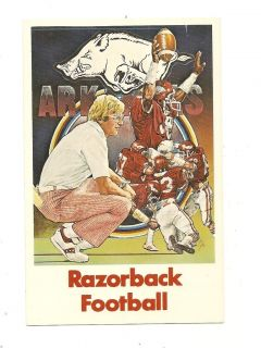 Razorback Football Postcard Lou Holtz U Arkansas