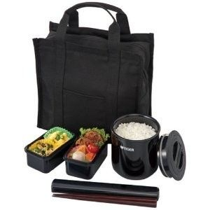 Japanese Lunch Box Set Tiger Lunch Thermos Black LWY T036K Brand New