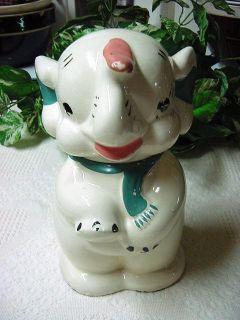 Vintage Elephant Cookie Jar Ludowici Celadon American Bisque
