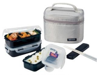 NEW Bento Lunch Box Set w 3 containers Chopstics Insulated Bag 754DG