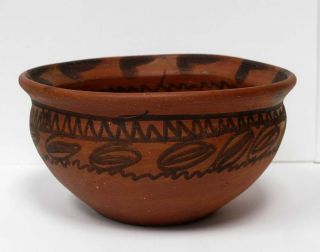 Clay Hand Painted Pot Bowl Mexico El Maya Mexican Folk Art Souvenir