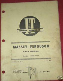 Massey Ferguson Tractors MF25 MF130 I T Shop Manual