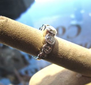 Antique 14K White Gold Old European Diamond Engagement Ring Vintage