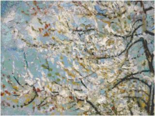 Van Gogh Pink Peach Tree Counted Cross Stitch Pattern