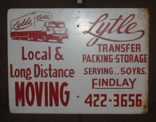 Vintage Lytle Moving Co. Findlay, Ohio Metal Sign   Gas Truck Oil Not