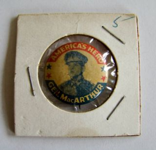 Vintage Americas Hero Gen MacArthur Pin Button Estate