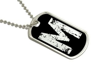 Letter M Initial Military Dog Tag Keychain