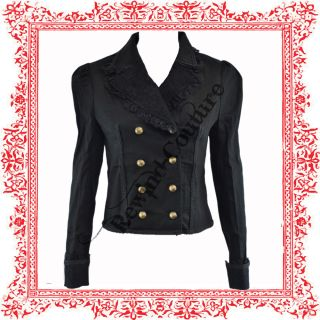Hell Bunny Spin Doctor Lucile Black Goth Military Jacket Coat