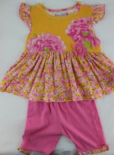 pc BABY LULU LUCINDA Pink Yellow Floral Ruffled Swing Top Shorts