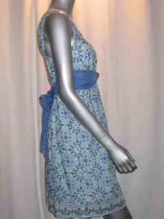 128 MSSP Max Studio Scoop Neck White Blue Print Cotton Silk Dress Sz