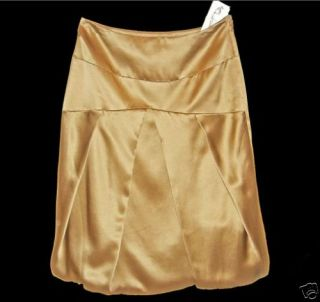 Luisa Cerano 100 Silk Gold Skirt Sz 6 36 $438