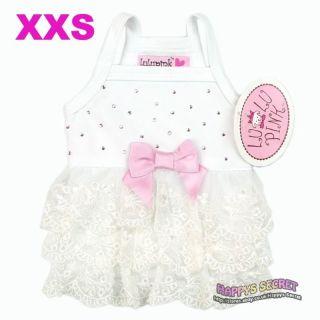 Lulu Pink Dog Lacy Lace Ruffle Bridal Dress Clothes XXS