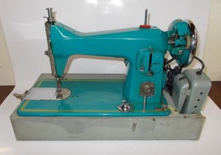 1950s Turquoise Precision Built Made Japan Sewing Machine Singer Clone