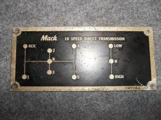 1962 Mack Truck B67 10 Speed Direct Transmission Shifting Pattern