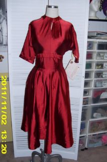 Vtg 1950s Red Party Holiday Mad Men Style Dress
