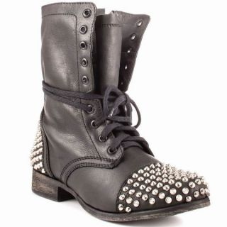 Steve Madden Tarnney Grey Leather Studded Combat Boots