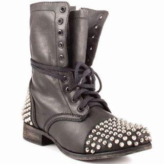 Steve Madden Tarnney Grey Leather Studded Combat Boots