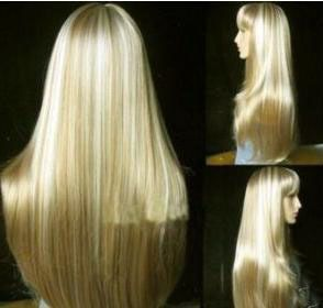Fashion Long Blonde Straight Wig Human Made Wig Free Wig Cap