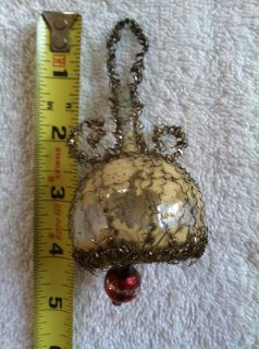vtg antique victorian wire wrapped glass umbrella xmas ornament