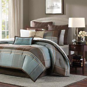 Madison Park Davenport Blue Brown 8 Piece Queen Size Comforter Set