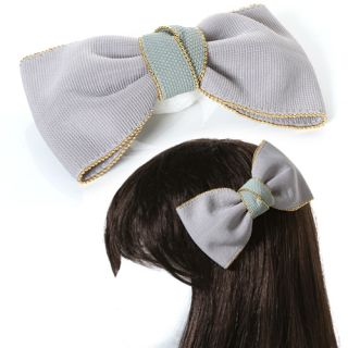 HR142GY Hand made Fabric Bow Ribbon Accent Hair Clip LOVELY Hair