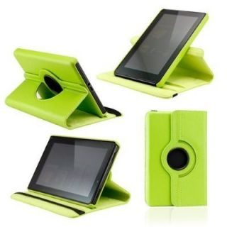 Kindle Fire Leather Folio 360 Case Cover w Kickstand Green