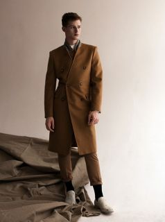 Maison Martin Margiela H M Wool Camel Double Breasted Wool Coat 40 42