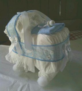 Bassinet Diaper Cake Baby Shower Gift Baby Boy Blue