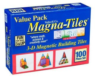 Valtech Magna Tiles 100 Piece Clear Brand New in Factory SEALED Box