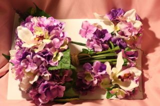 Pc Purple Hydrangia Orchid Wedding Bridal Flower Bouquet 2 Corsages