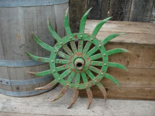 Old Farm Equipment Rotary Hoe Wheel Primitive Country Garden Decor