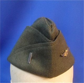 Named WW2 US Navy Officer Pilots Green Wool Garrison Cap with Wings