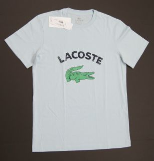 New Lacoste Men Avacation Logo T Shirts Sky Blue
