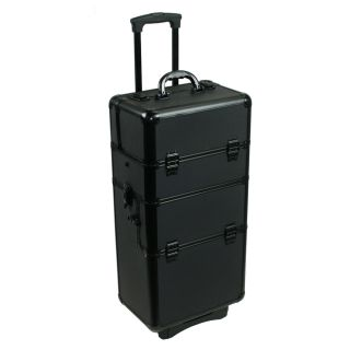 Aluminum Make Up Trolley Case Black Cosmetic Makeup Train 2 in 1